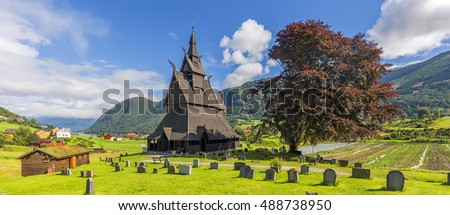 Panoramic view of Hopperstad stavkirke, Norway
