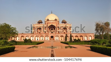 Panoramic view of Humayun's Tomb - one of the most famous Mughal buildings in New Delhi, India.
