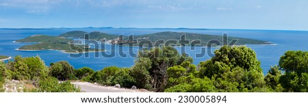 Panoramic view of Ilovik island from Losinj island in Croatia - stock photo
