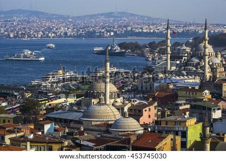 Panoramic view of Istanbul. Bridge, Mosque and Bosphorus. Istanbul, Turkey. - stock photo