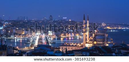 Panoramic view of Istanbul. Galata Bridge, Mosque and Bosphorus. Istanbul, Turkey. - stock photo