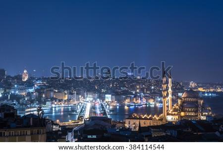 Panoramic view of Istanbul. Galata Tower, Galata Bridge, Mosque and Bosphorus. Istanbul, Turkey. - stock photo
