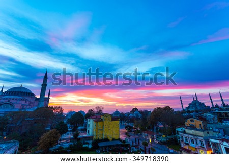 Panoramic View of Istanbul Old City with Famous Sultan Ahmed Mosque and Sophia Cathedral at Morning with amazing colors of Sky - stock photo