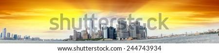Panoramic view of Jersey City, Manhattan and Brooklyn - New York. - stock photo