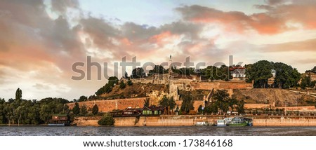 Panoramic view of Kalemegdan fortress, and its tourist lookout with dominant Victor monument, captured from Sava river perspective, Belgrade, Serbia.  - stock photo