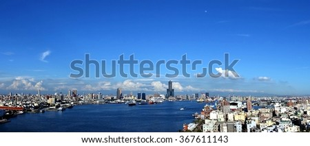 Panoramic view of Kaohsiung City and Chijin Island in southern Taiwan