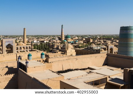 Panoramic view of Khiva (Chiva, Heva, Xiva, Chiwa, Khiveh) - Xorazm Province - Uzbekistan - Town on the silk road in Central Asia