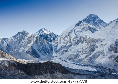 panoramic view of Khumbu Glacier and Mount Everest with beautiful sky - Khumbu valley - Nepal - stock photo