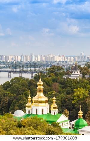 Panoramic view of Kiev Pechersk Lavra Orthodox Monastery in Kiev, Ukraine - stock photo