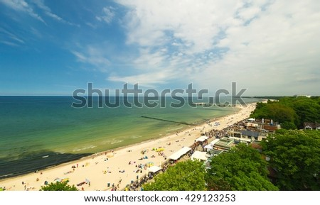Panoramic view of Kolobrzeg beach, blue sky, Poland