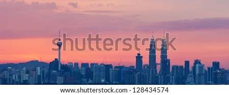 Panoramic View of Kuala Lumpur City,the  most populous city in Malaysia during sunset - stock photo
