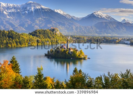 Panoramic view of Lake Bled from Mt. Osojnica, Slovenia - stock photo