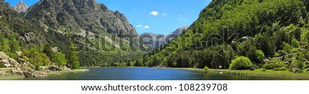 panoramic view of lake Llebreta in national park Aiguestortes in Catalonia