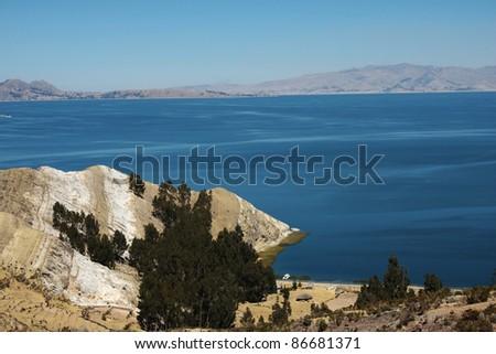 panoramic view of lake titicaca - stock photo