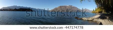 Panoramic view of Lake Wakatipu in Queenstown. South island of New Zealand. - stock photo