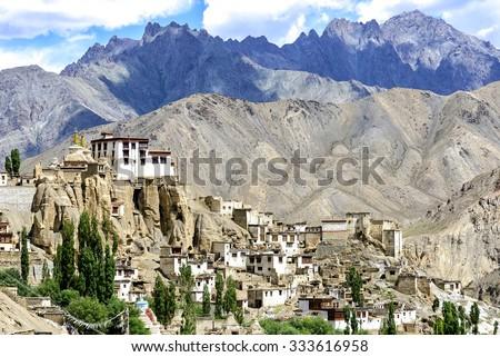 Panoramic view of Lamayuru monastery in Ladakh, India. Lamayuru is a Tibetan Buddhist monastery situated on the Srinagar-Leh highway 15 kilometres east of the Fotu La at a height of 3,510 metres. - stock photo