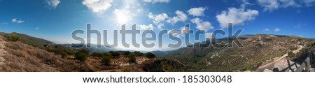Panoramic view of Lasithi Plateau on the east of Crete Island, Greece - stock photo