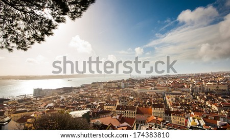 """Panoramic view of Lisbon city and Tagus river from the """"Castle Sao Jorge"""". - stock photo"""