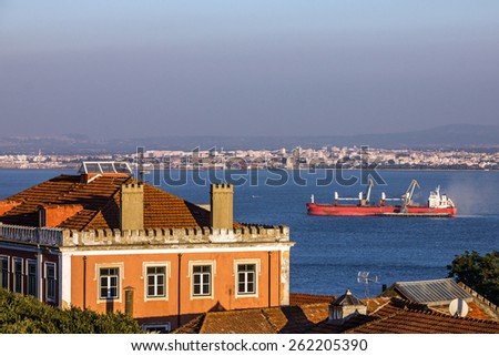 Panoramic view of Lisbon, Portugal. Tagus River Panorama - stock photo