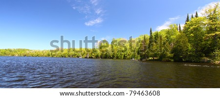Panoramic view of Little Horsehead Lake in northern Wisconsin - stock photo