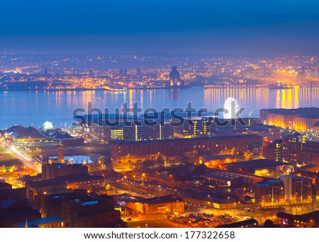 Panoramic view of Liverpool City at night, England, UK - stock photo