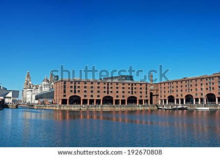 Panoramic View of Liverpool's historic waterfront, Albert Dock and Liver Buildings - stock photo