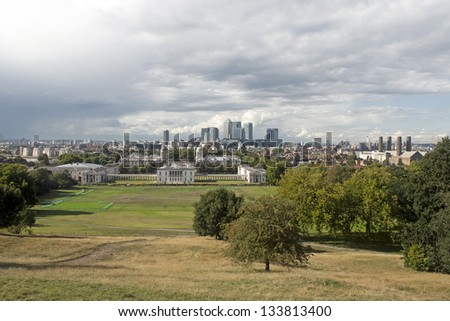 Panoramic view of London Docklands from Greenwich - stock photo