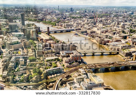 Panoramic VIew of London, over the river Thames towards Westminster - stock photo