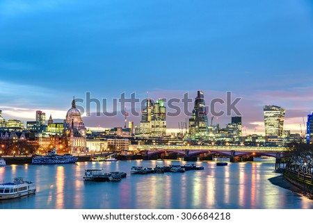 Panoramic view of London Skyline over river Thames, England. - stock photo