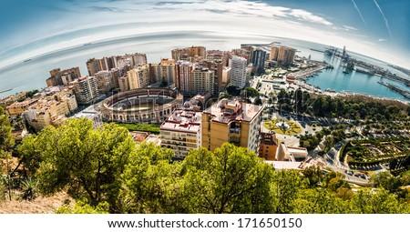 Panoramic view of Malaga bullring and harbor. Spain  - stock photo