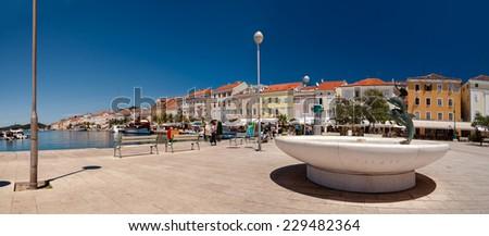 Panoramic view of Mali Losinj seaside town center in Croatia - stock photo
