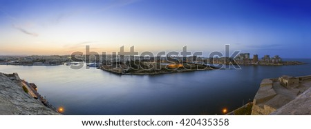 Panoramic view of Malta and Fort Manoel from Valletta at blue hour - Malta - stock photo