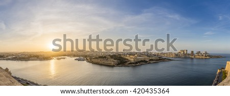 Panoramic view of Malta from Valletta at blue hour - Malta - stock photo