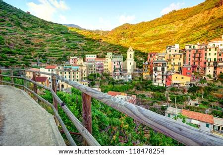 Panoramic view of Manarola village (Cinque Terre, Italy) - stock photo