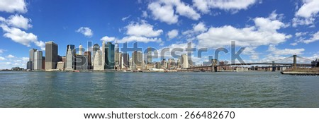 Panoramic view of Manhattan and the East River