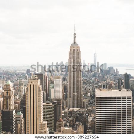 Panoramic view of Manhattan downtown, New York city - stock photo