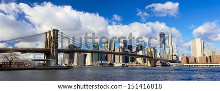 Panoramic view of Manhattan skyline and Brooklyn Bridge, New York City