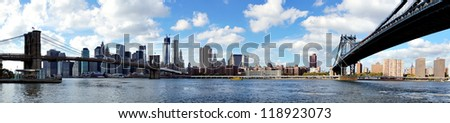 Panoramic view of Manhattan, with Brooklyn Bridge and Manhattan Bridge, seen from Brooklyn Bridge Park