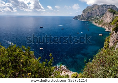 Panoramic view of Marina Piccola and Tyrrhenian sea in Capri island - Italy - stock photo