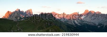 Panoramic view of Marmolada mountains ridge, Val di Fassa, Italian Dolomites - stock photo