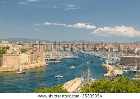 Panoramic view of Marseille and old port - stock photo