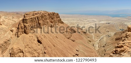 Panoramic view of Masada summit and Dead Sea in Judea desert, Israel.