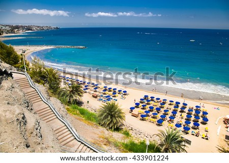 Panoramic view of Maspalomas beach in Gran Canaria. Spain. - stock photo