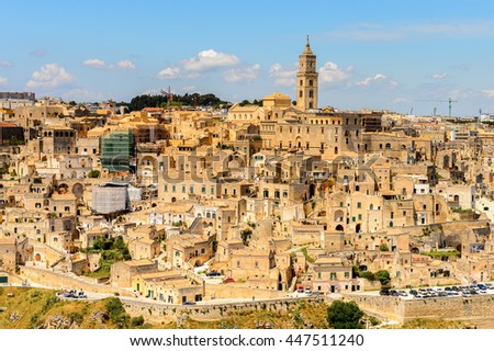 Panoramic view of Matera, Puglia, Italy. The Sassi and the Park of the Rupestrian Churches of Matera. UNESCO World Heritage site