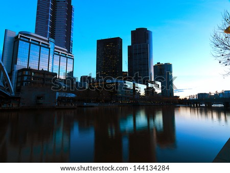 Panoramic view of Melbourne from Southbank Bridge - stock photo