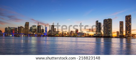 Panoramic view of Miami at sunset, USA. - stock photo