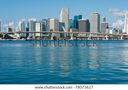 Panoramic view of Miami Downtown skyline. All logos and brand names of building removed.