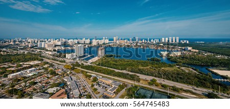Panoramic view of Miami, Florida, in a sunny day.
