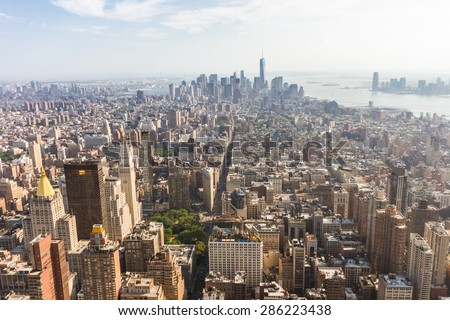 Panoramic view of Midtown and Lower Manhattan as seen from the Empire State Building observation deck (New York, USA) - stock photo