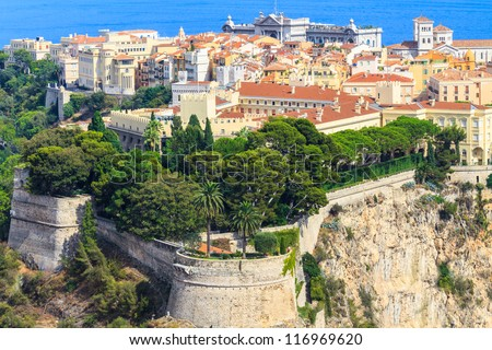 Panoramic view of Monaco with palace (Chateau Grimaldi), old town, cathedral and Oceanography museum - stock photo